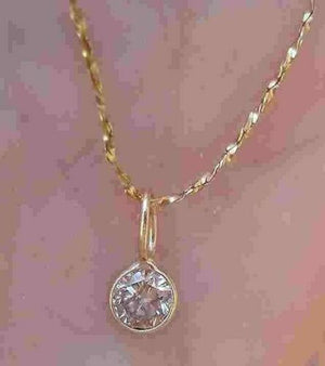 Bezel Set 0.28 ct Diamond Pendant Necklace 14K Yellow Gold