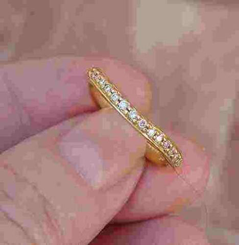 Curved Diamond Band Ring 14K Yellow Gold