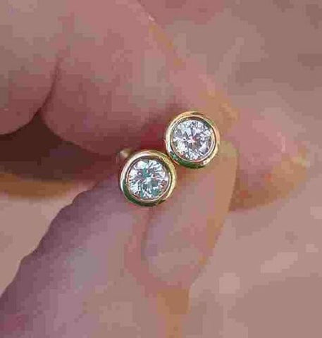 Bezel Set Diamond Studs Earrings Round 0.30 cttw 14K Yellow Gold