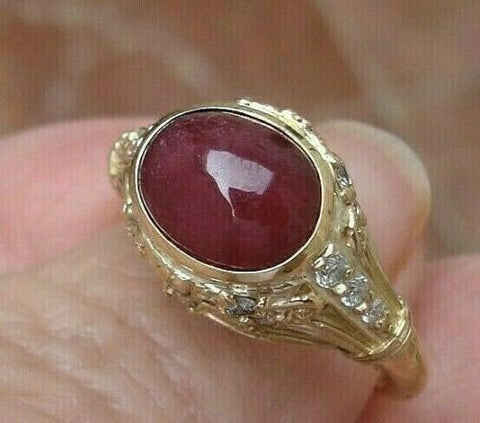 Ruby Cab and Diamond Solitaire Ring NATURAL 4.08 ct 14K Yellow Gold
