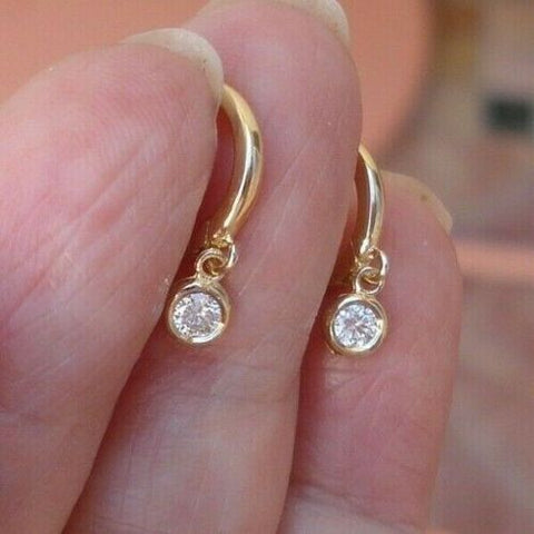 Image of Diamond Drop Earrings Bezel Set 14K Yellow Gold Dainty