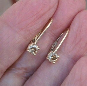 Leverback Diamond Earrings 0.36 cttw Light Champagne 14K Yellow Gold Custom