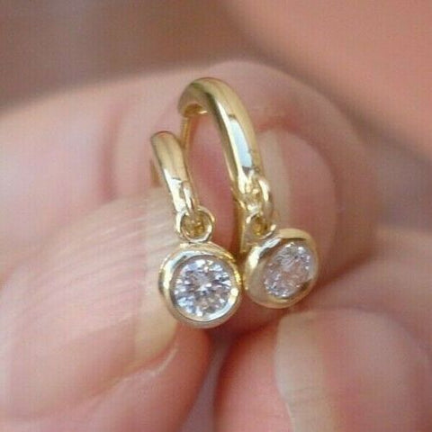 Diamond Drop Earrings Bezel Set 14K Yellow Gold Dainty
