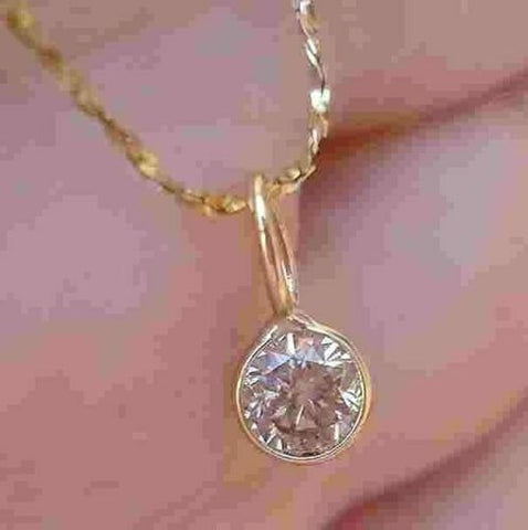 Image of Bezel Set 0.28 ct Diamond Pendant Necklace 14K Yellow Gold