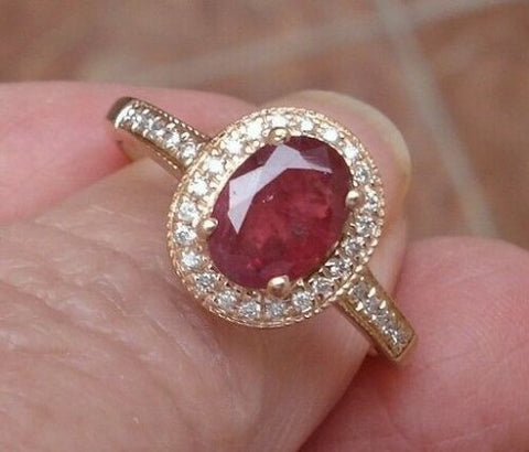 NATURAL Ruby and Diamond Solitaire Halo Ring 1.7 ct 14K Rose Gold