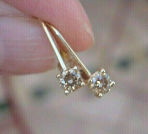 Image of Leverback Diamond Earrings 0.36 cttw Light Champagne 14K Yellow Gold Custom
