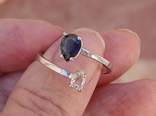 Sapphire & Diamond .82 ct Bypass Cuff Ring Custom Made 14K White Gold