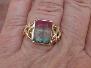 Watermelon Tourmaline 5.0 ct Emerald Cut Solitaire Custom Ring 14K Yellow Gold