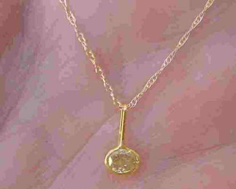 Image of Bezel 0.25 ct Yellow Oval Diamond Solitaire Pendant Necklace 14K Yellow Gold