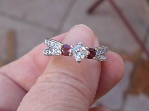 Princess Cut Diamond Engagement Ring with Rubies 14k White Gold