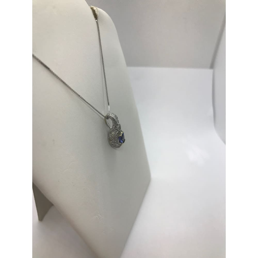 Tanzanite Pendant With Diamonds 14K White Gold By Luxinelle