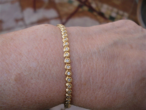 Image of 1 Carat Diamond Bracelet 18K Yellow Gold