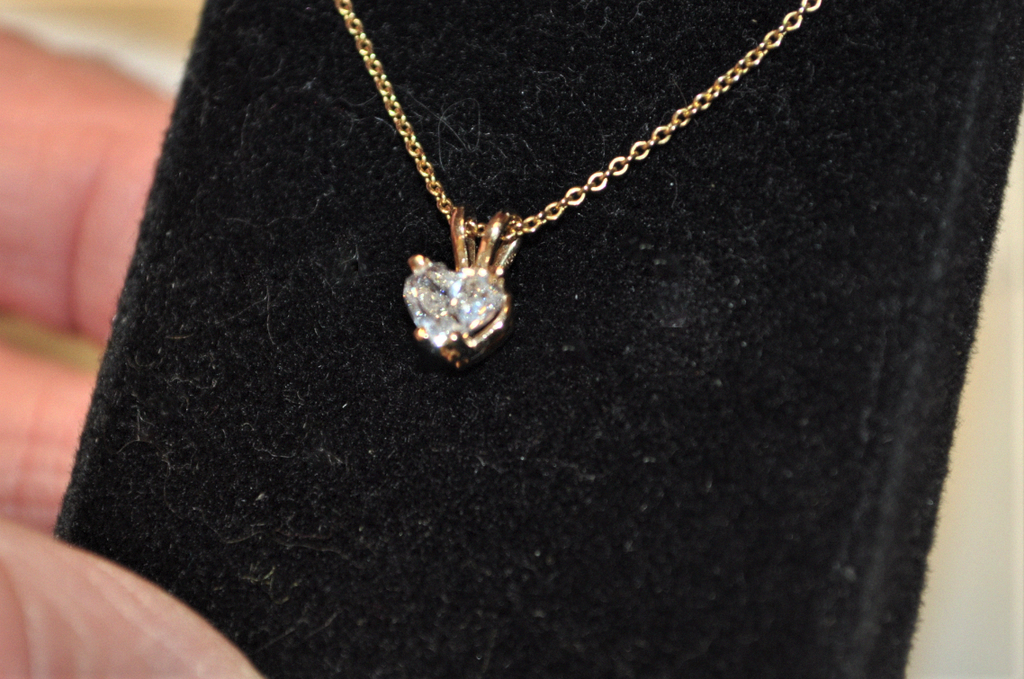 Half Carat Heart Shaped Diamond Solitaire Pendant on a Chain
