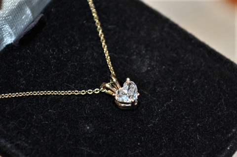 Image of Half Carat Heart Shaped Diamond Solitaire Pendant on a Chain