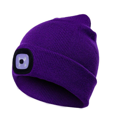 Outdoor LED Winter Beanie Unisex Bazoom Shop Purple