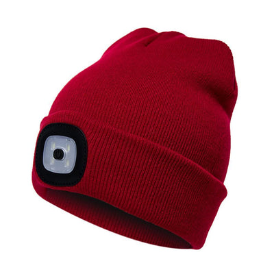 Outdoor LED Winter Beanie Unisex Bazoom Shop Red