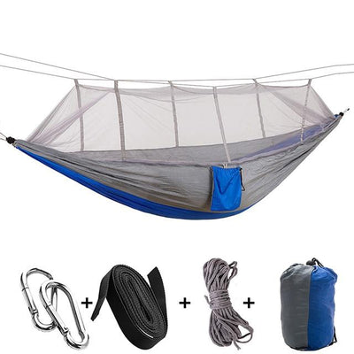 Ultralight Travel Hammock with Integrated Mosquito Net Bazoom Shop Blue-Gray