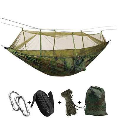 Ultralight Travel Hammock with Integrated Mosquito Net Bazoom Shop Camouflage