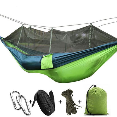 Ultralight Travel Hammock with Integrated Mosquito Net Bazoom Shop Dark Green