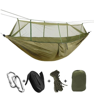 Ultralight Travel Hammock with Integrated Mosquito Net Bazoom Shop Deep Green