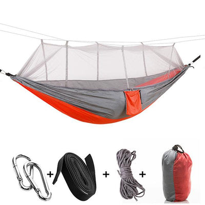 Ultralight Travel Hammock with Integrated Mosquito Net Bazoom Shop Red-Gray