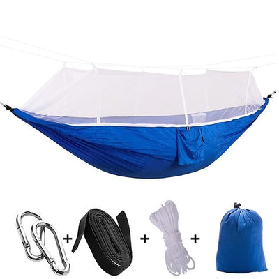 Ultralight Travel Hammock with Integrated Mosquito Net Bazoom Shop White Blue