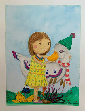 """Watercolor Study #1 - (The Girl and the Goose)"" (Original Painting)"