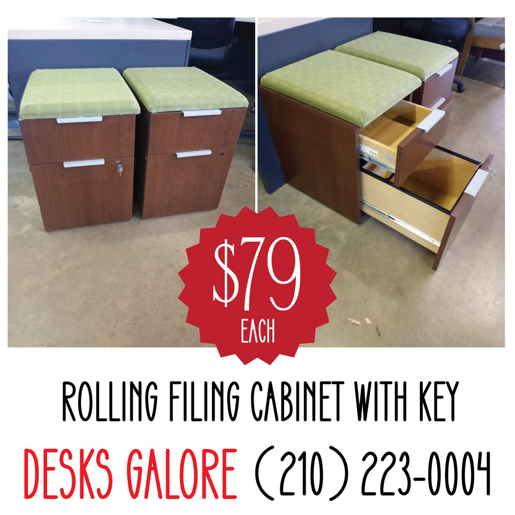 Rolling Filing Cabinet with Key
