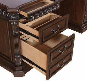 Traditional Rich Brown Executive Desk