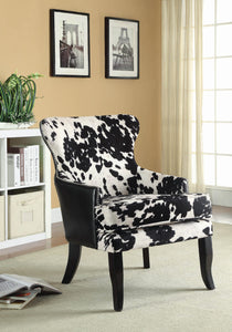 Traditional Black And White Accent Chair (Cowhide)