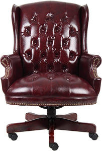 Burgandy Wing Back Desk Chair
