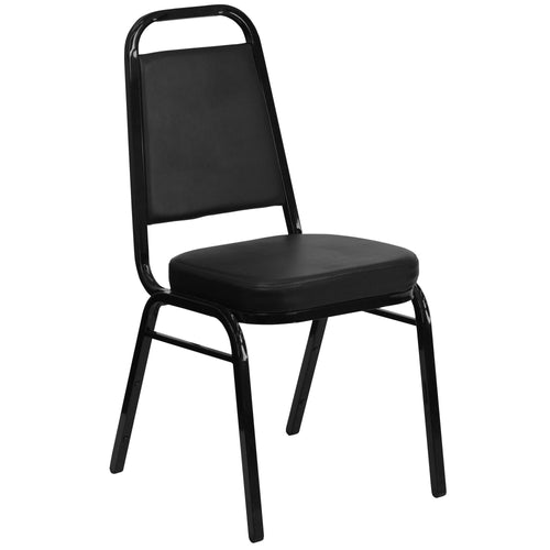 Black Vinyl Stackable Banquet Guest Chair - OUT OF STOCK