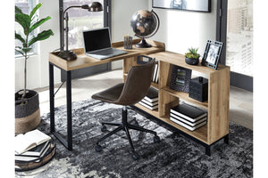 "Natural Wood Finishh 47"" Home Office Desk With Return"