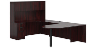 "71"" Laminate Bullet U Shape Desk with Hutch"