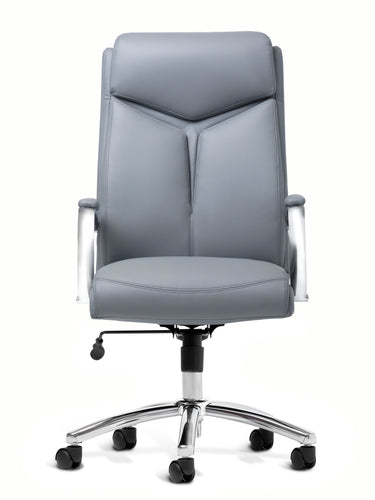 Gray Vinyl and Chrome Desk Chair