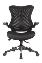 Load image into Gallery viewer, Black Mesh Back and Fabric Seat Desk Chair with Flip Up Arms