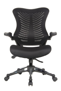 Black Mesh Back and Fabric Seat Desk Chair with Flip Up Arms