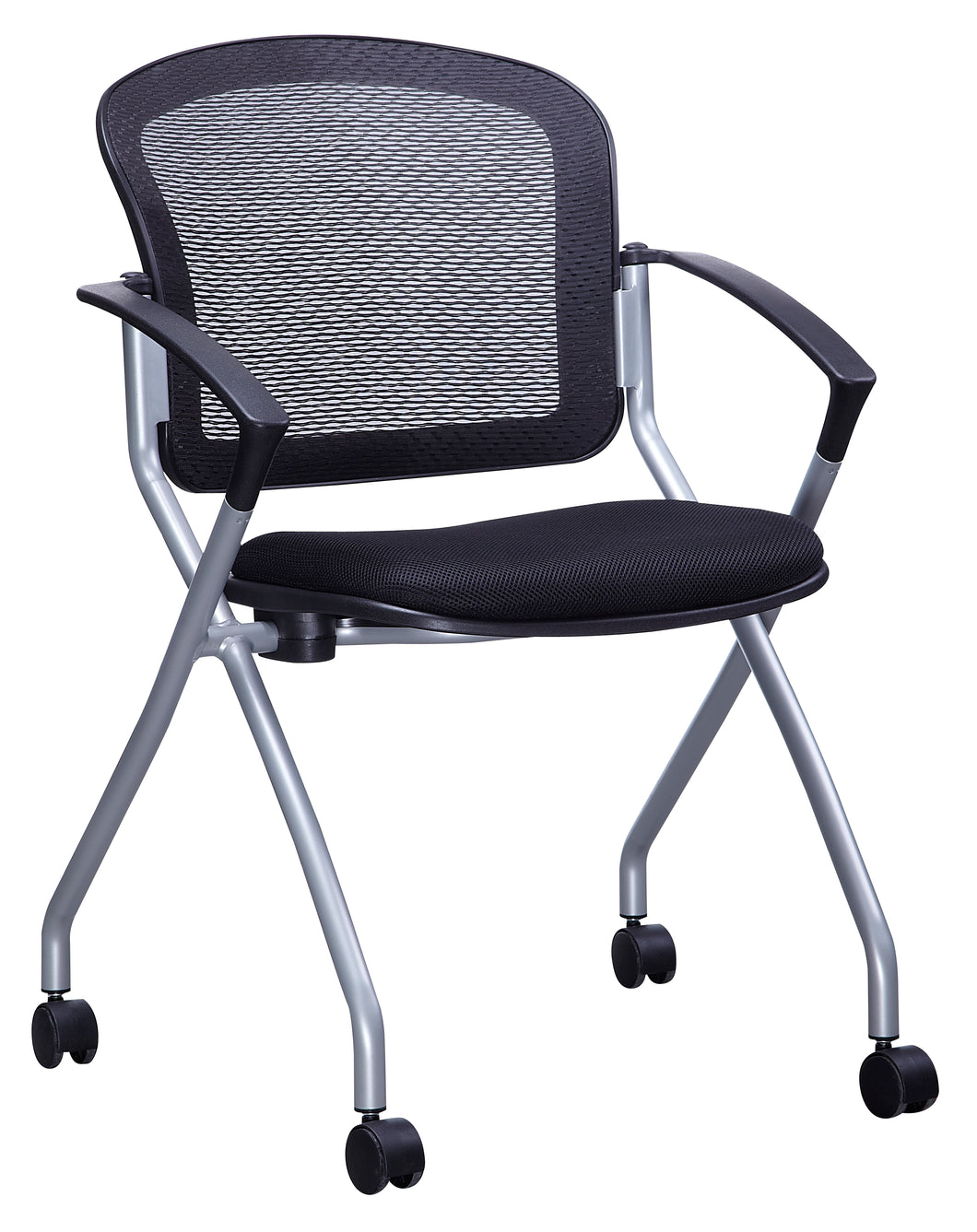 Black Mesh Nesting Chair (Seat Folds Up)