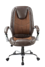 Load image into Gallery viewer, Brown Leather and Microfiber Desk Chair