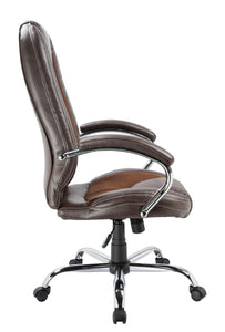 Brown Leather and Microfiber Desk Chair