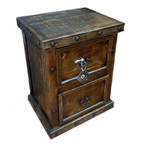Rustic Nail Head Two Drawer File Cabinet