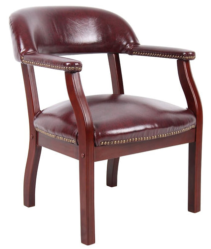 Oxblood Vinyl Mid Back Guest Chair