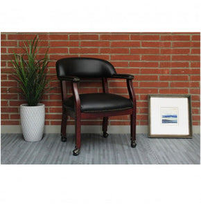 Black Vinyl Mid-Back Desk Chair (With Casters)