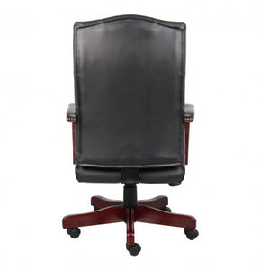 Black Button-Tufted Hardwood Executive Desk Chair