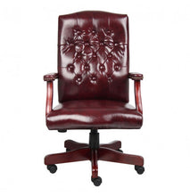 Load image into Gallery viewer, Executive Oxblood Vinyl Desk Chair With Mahogany Finish Frame