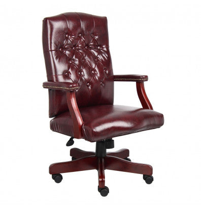 Executive Oxblood Vinyl Desk Chair With Mahogany Finish Frame