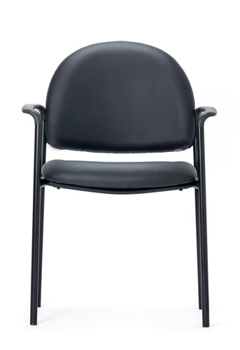 Black Vinyl With Arms Guest Chair