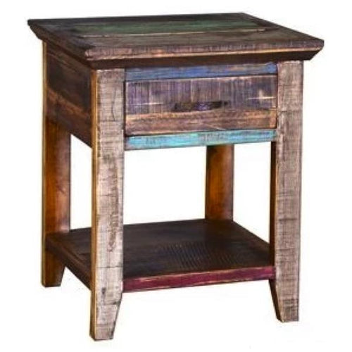 Rustic Multi Color Side Table
