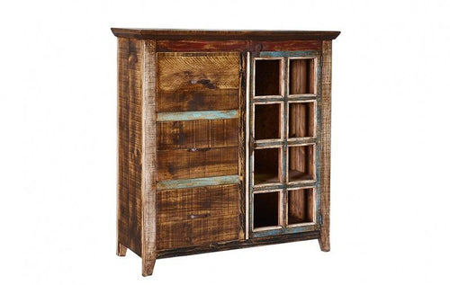 Rustic Multi Color Bookcase & Filing Cabinet