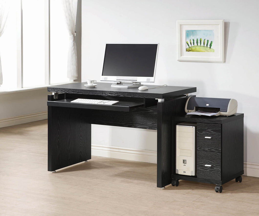 Contemporary Black Oak Computer Desk - OUT OF STOCK